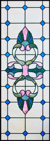Victorian style stained and leaded glass window