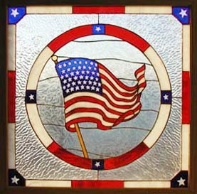 stained glass window of the United States flag
