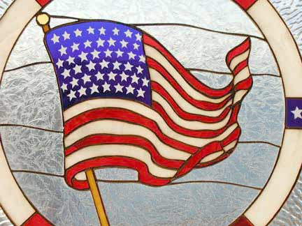U S Flag in stained glass