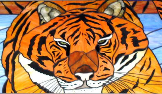 Tiger stained and leaded glass commemorative 2009 school window