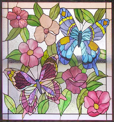 stained and leaded glass butterflies and flowers