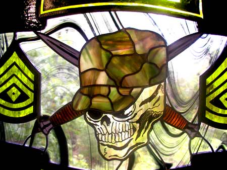 airborne ranger stained and leaded glass window