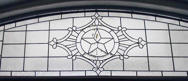 Custom leaded glass Texas Star bevel transom window