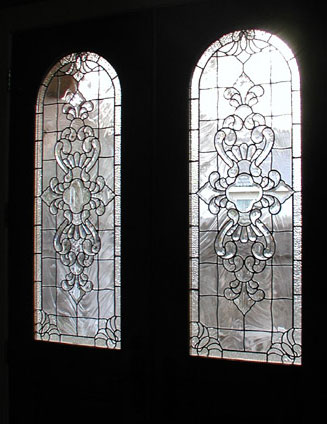 Custom leaded glass door windows with Infinity bevels