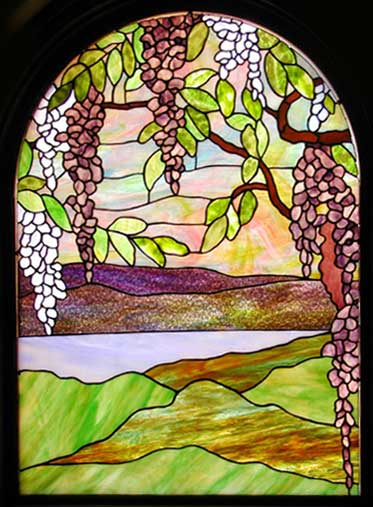 magnolia and wisteria stained glass