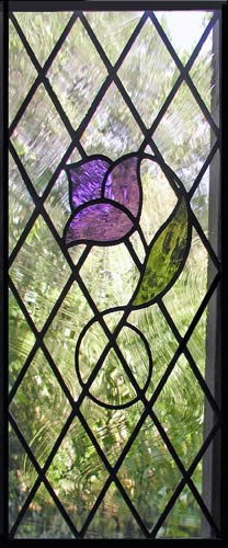 Custom stained and leaded Diamond tulip window