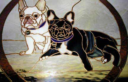 two dogs stained glass window