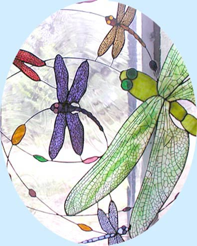 dragonflies custom stained glass window