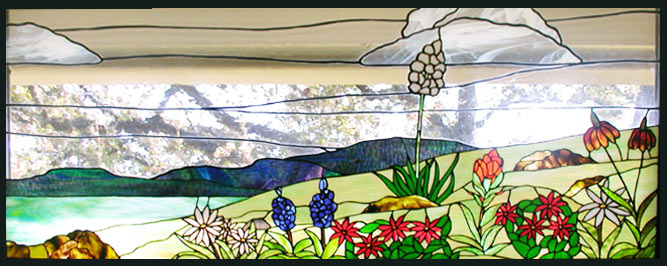 Custom Texas wildflowers stained glass window