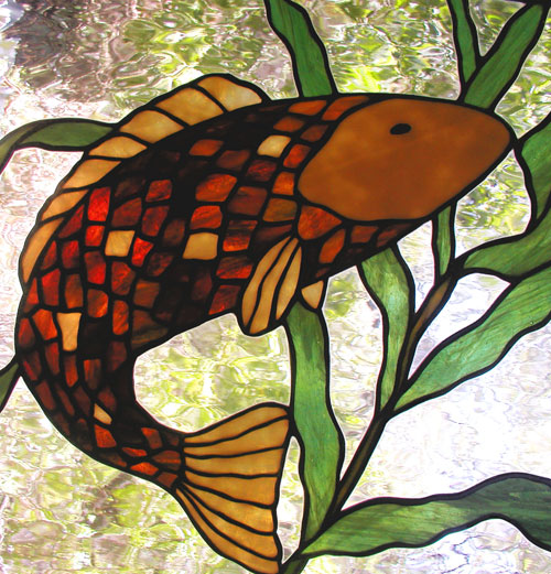 BACK to custom stained glass koi fish window