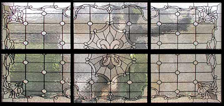 large sectioned leaded glass Fleur de Lis Victorian style window