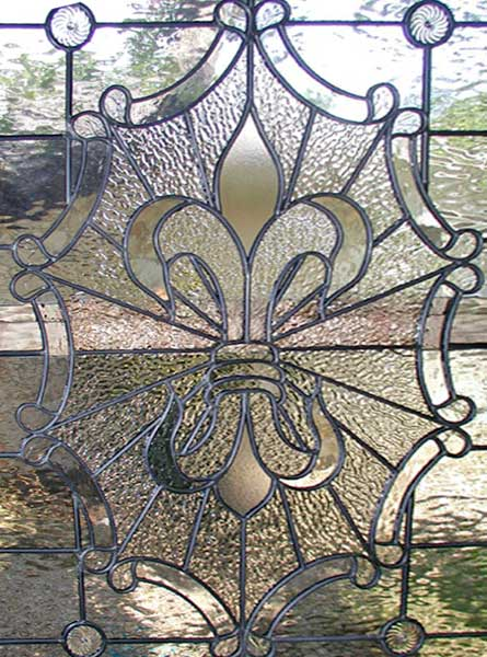 Large Leaded Glass Fleur Des Lis Window Custom By Jack McCoy