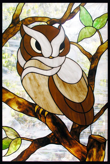 Custom stained glass owl window