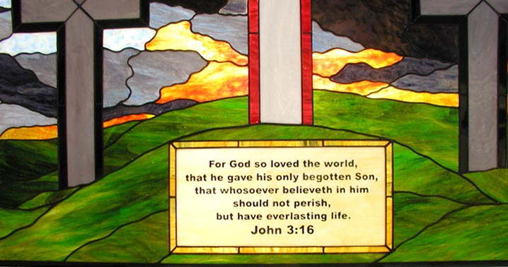 John 3:16 custom religious stained and leaded glass church window
