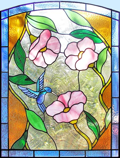 Custom stained leaded glass hummingbird flowers window