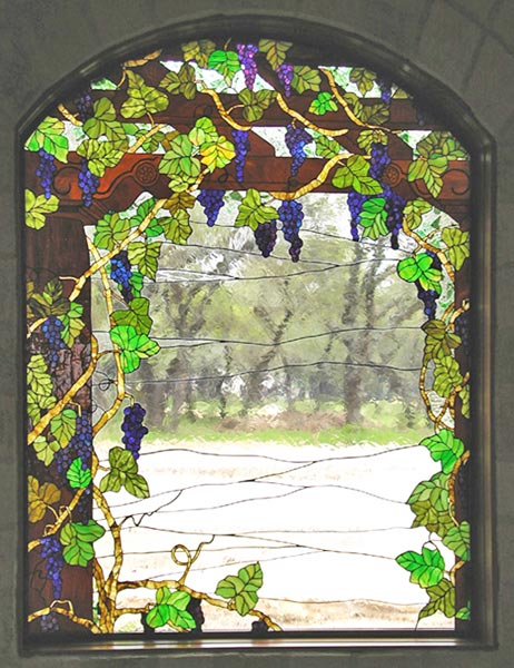 Custom stained glass Victorian style grapes window