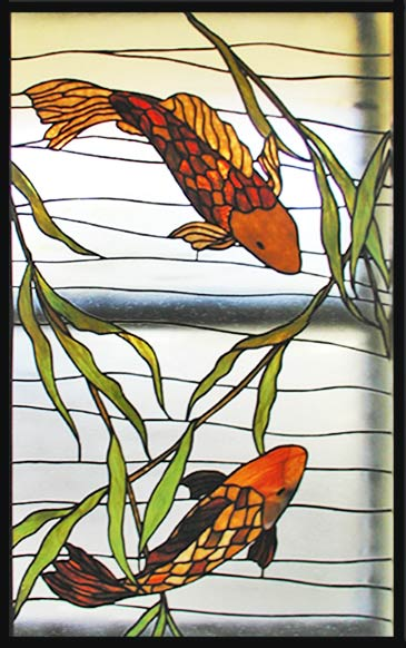 stained glass koi fish window