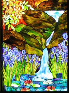 stained glass landscape with waterfall window by Jack McCoy
