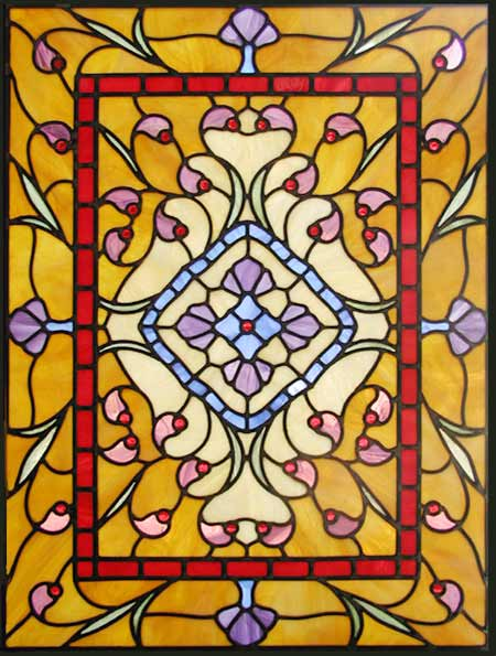 Custom Victorian style stained and leaded glass window