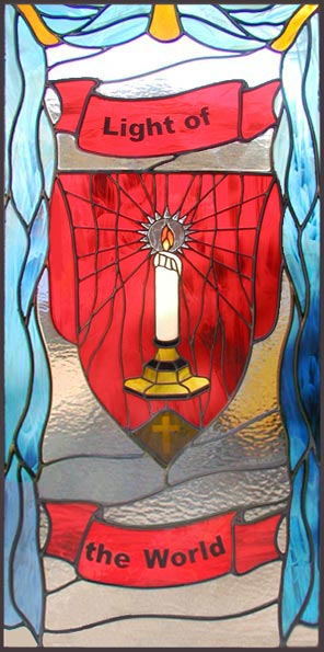 Light of the World custom spiritual stained glass and leaded glass window
