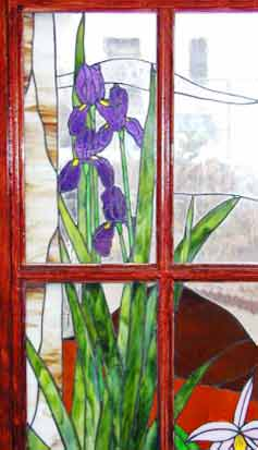 stained and leaded french door windows