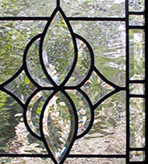Closeup of custom leaded bevel glass sidelight window