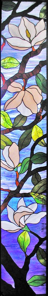 magnolias custom stained and leaded glass windows