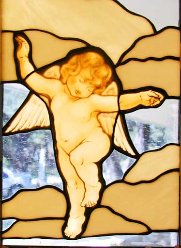 Cherub 4 stained and leaded glass window