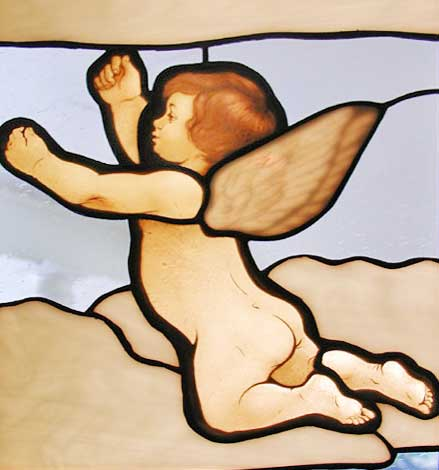 Cherub 7 stained and leaded glass window