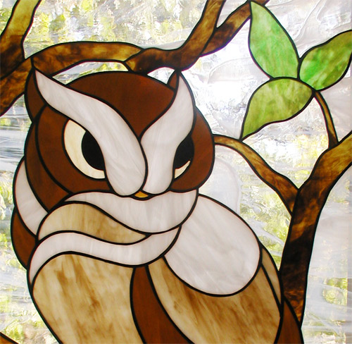 BACK to custom stained glass owl window