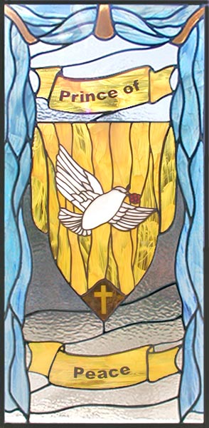 Prince of Peace custom spiritual stained glass and leaded glass religious window