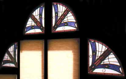 Custom art deco style stained and leaded glass windows