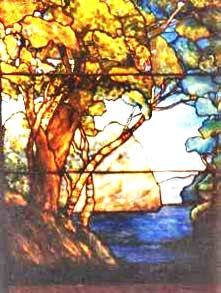Custom stained and leaded glass Tiffany Style tree window