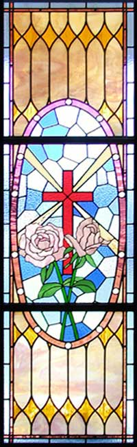 Stained glass sanctuary roses window