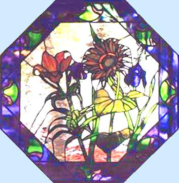 stained glass sunflower window