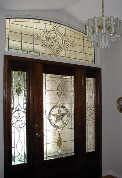 Texas star leaded glass bevel entry