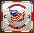 US Flag stained and leaded glass custom design window