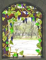 Custom stained and leaded glass grapes window by jack McCOY©