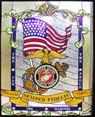 Marines Tribute stained and leaded glass custom windows