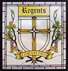 Custom stained and leaded glass regents school window