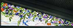 Custom trumpet vine swallows butterflies stained glass window by Jack McCoy