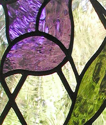 Closeup of custom stained and leaded Diamond tulip window