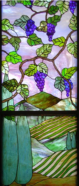 Tuscan landscape stained glass window