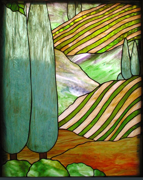 Tuscan landscape stained glass window custom