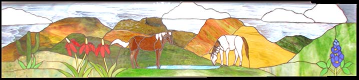 Texas Horses Landscape custom stained glass transom window