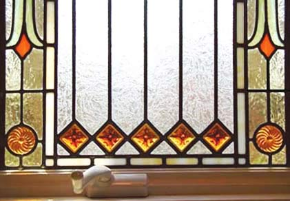 detail of Visconte Victorian style stained and leaded glass window