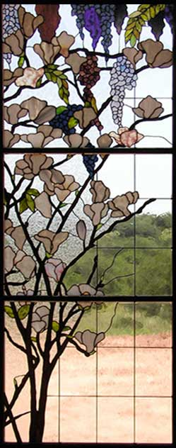 wisteria and magnolia stained glass windows