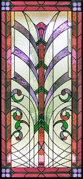 Custom Leaded Stained Glass window art deco style